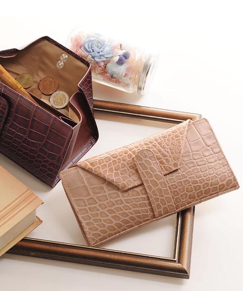 イタリア製 クロコダイル型押し牛革ギャルソン財布
