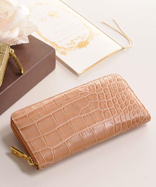 イタリア製クロコダイル型押し クロコダイルファスナー財布