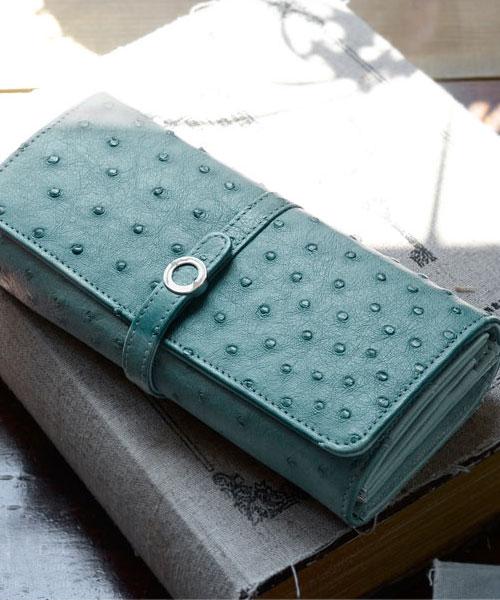 オーストリッチ 多機能 財布 / かぶせ長財布