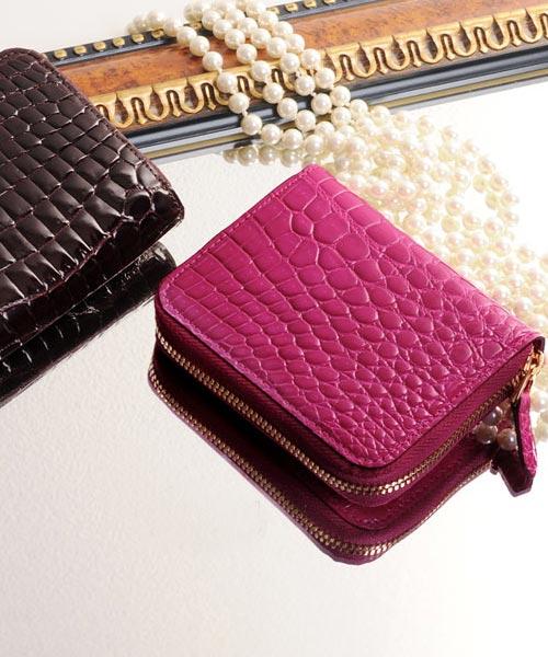 ヘンローン社製原皮使用 クロコダイル シャイニング コンパクト財布