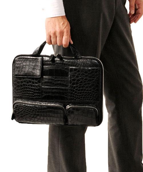 クロコダイル 薄型 ビジネス バッグ マット