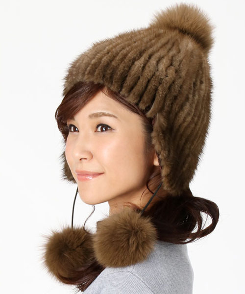 ミンク ファー ボンボン付き 帽子