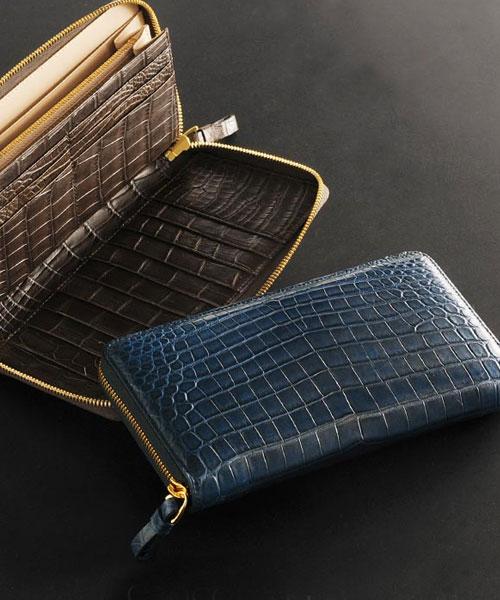 ヘンローン社製原皮使用 クロコダイル 多機能 長財布 ラウンドジップ