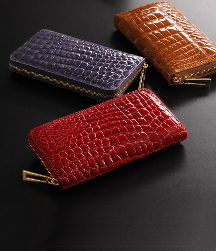ヘンローン社製原皮使用 クロコダイル ラウンドファスナー長財布