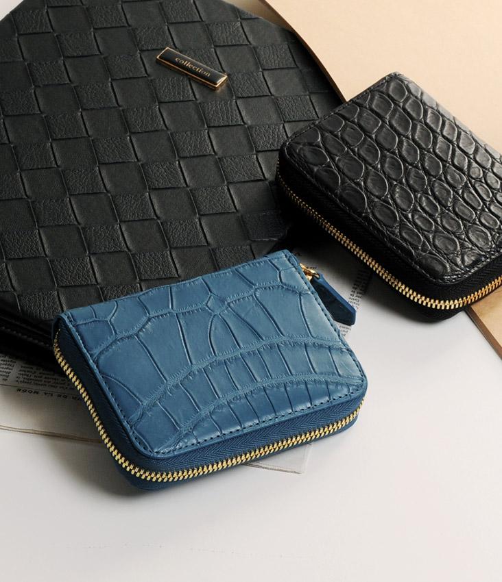 ヘンローン社製原皮使用 スモールクロコダイル マット コンパクト財布