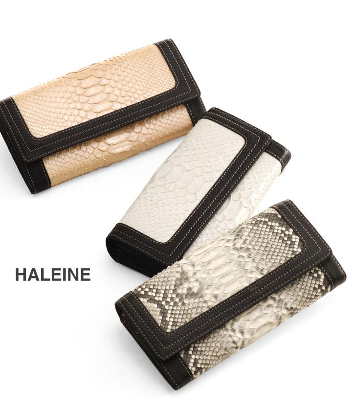 HALEINE/アレンヌ ダイヤモンドパイソン & 牛革 かぶせ 長財布