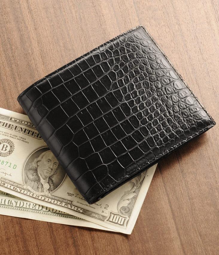 スモール クロコダイル 折り財布 マット 加工 センター取り