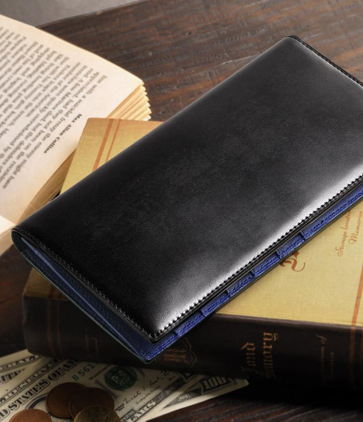 プレリー コードバン 長財布 バイカラー デザイン 小銭入れ 付き