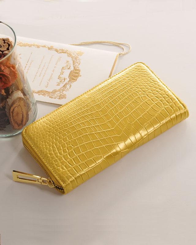 ヘンローン社製原皮使用 クロコダイル 長財布 ゴールド カラー