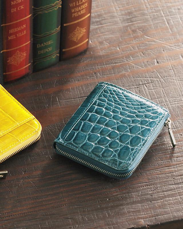 ヘンローン社製原皮使用 クロコダイル コンパクト財布