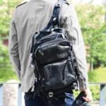 パイソン リュックサック メンズ 大容量 A4 対応 本革&ナイロン 旅行 バッグ