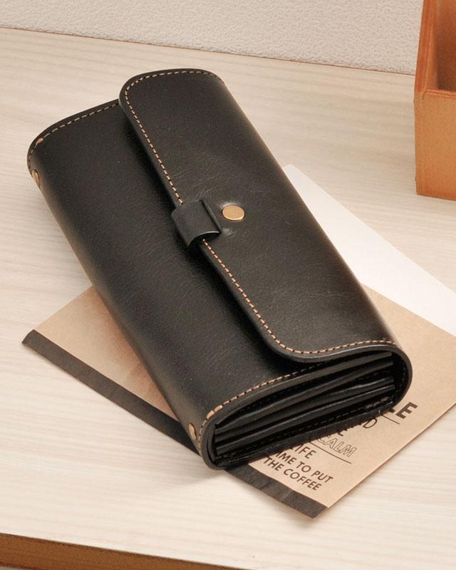 HALEINE/アレンヌ 日本製 革仕立てにトコトンこだわった 牛革 かぶせ長財布