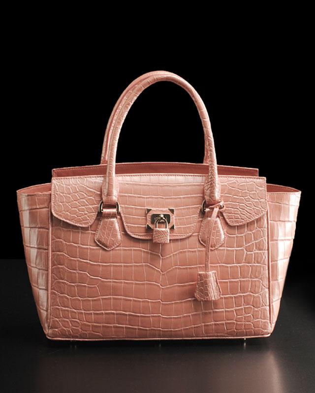 ヘンローン社製原皮使用 クロコダイル 南京錠 付き トートバッグ