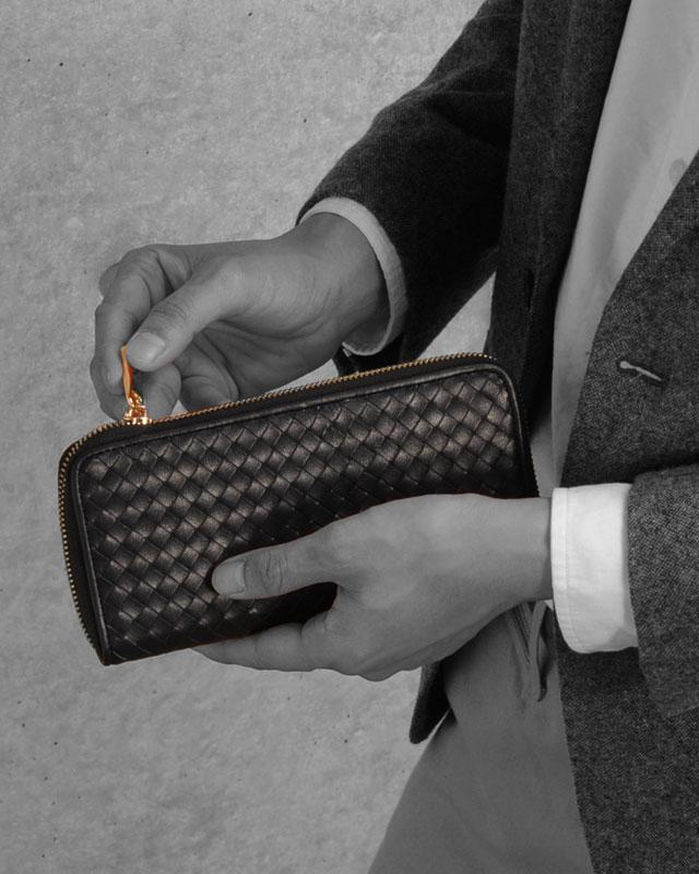 doob London/ドゥーブロンドン 本革 イントレチャート ラウンドファスナー長財布