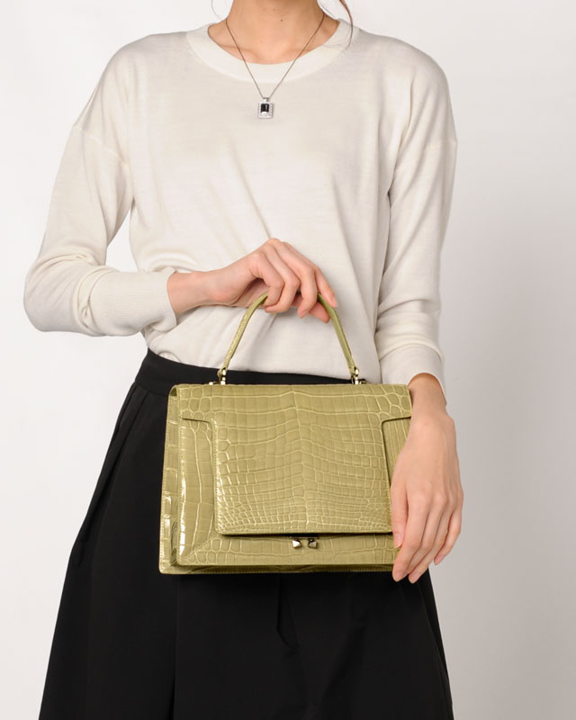 ヘンローン社製原皮使用 クロコダイル ハンドバッグ