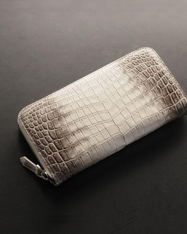 ヒマラヤ クロコダイル 長財布 一枚革