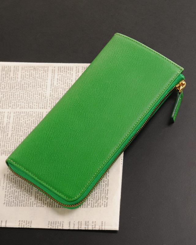 HALEINEフランス産レザー L字ファスナー 薄型長財布
