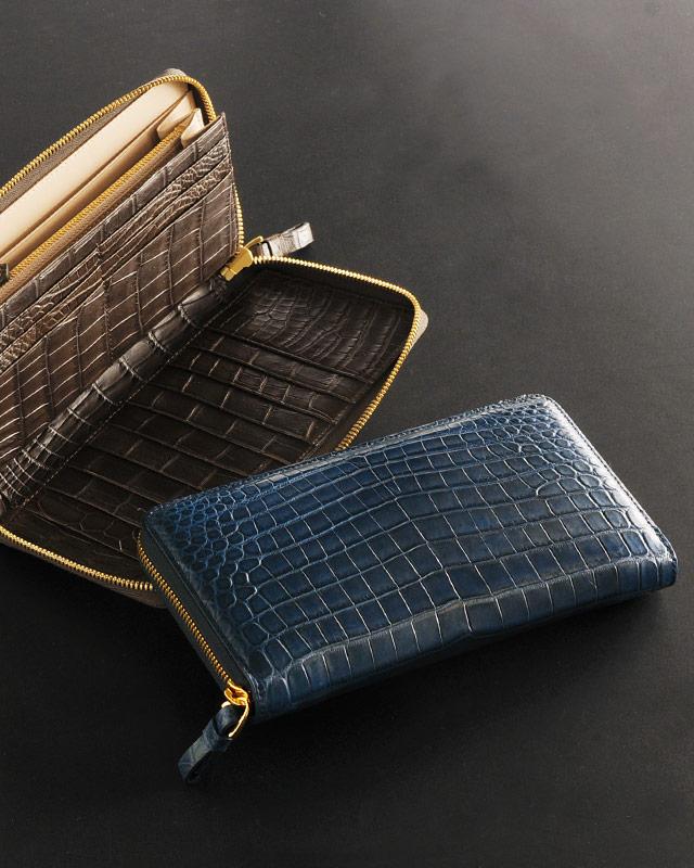 ヘンローン社製原皮使用 クロコダイル フルオープンラウンドファスナー 長財布