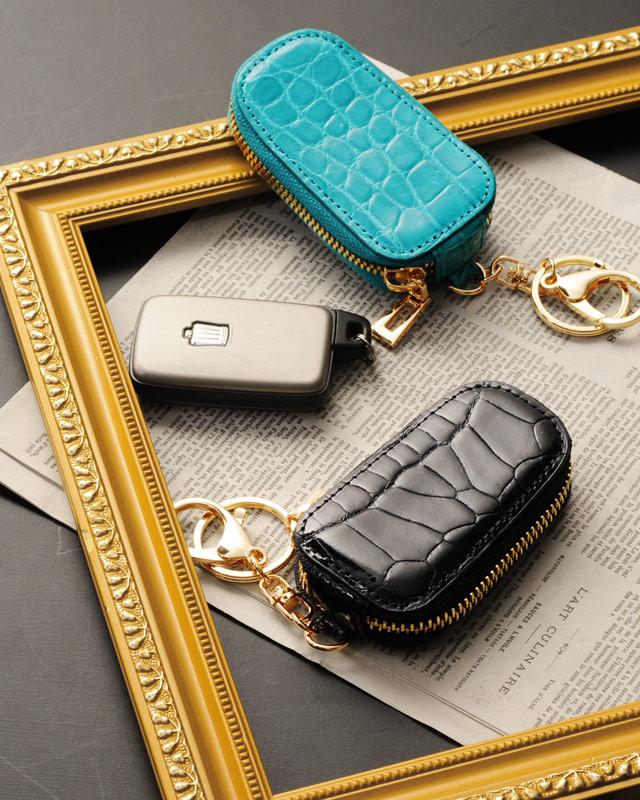 ヘンローン社製原皮使用 クロコダイル スマート キーケース