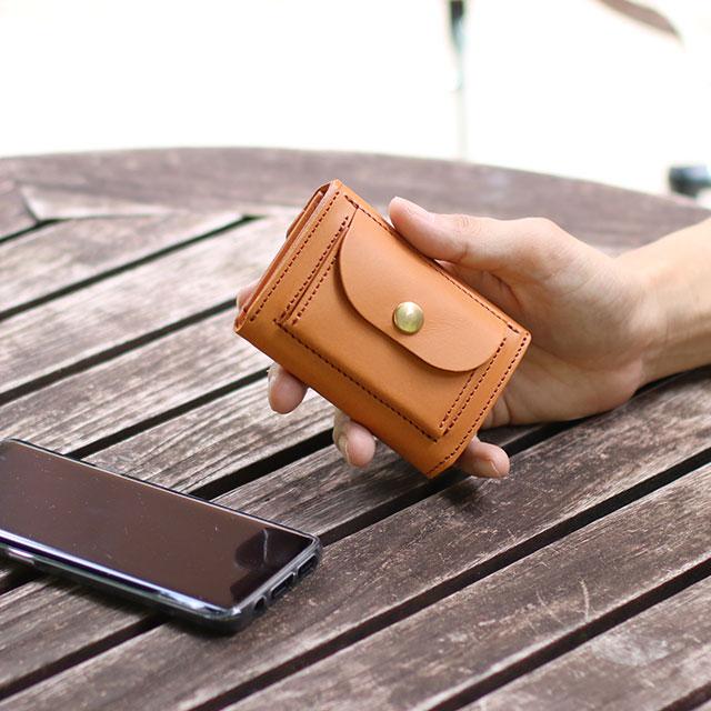 ヌメ革 日本製 ミニ財布 キャッシュレス