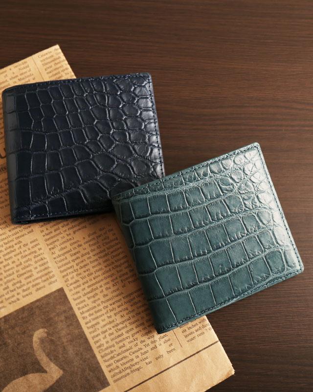 メンズ 二つ折り財布 クロコダイル