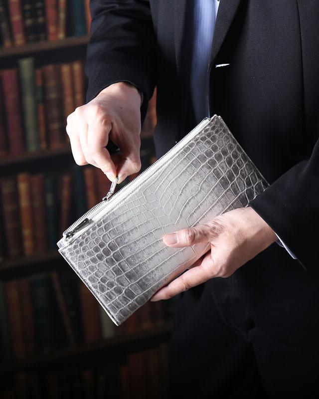 ヒマラヤ クロコダイル ダブルファスナー メンズ 長財布
